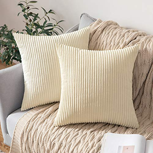 MIULEE Set of 2 Striped Corduroy Square Throw Pillow Case Soft Cushion Cover Sham Home for Sofa Chair Couch/Bedroom Decorative Fluffy Large Pillowcases 24x24 Inch 60x60cm Cream White