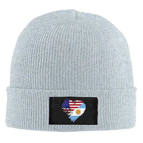 XCNGG Gorro Jersey de Lana Unisex Women Men Argentina American Heart Flag Knitting Hat,Thick Stretch Skiing Cap