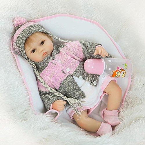Nicery Reborn Baby Doll Renacer Bebé la Muñeca Vinilo Simulación Silicona Suave 18 Pulgadas 45cm Boca Magnética Natural Niña Niño Juguete vívido para 3 años + Boy Girl RD45C037O