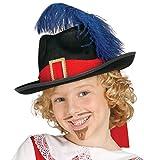 Guirca - Sombrero de mosquetero de fieltro, para niños, color negro (13562)