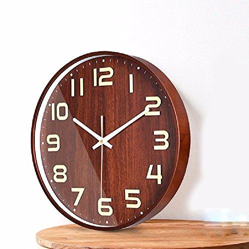 HQLCX Horloge Murale Le Salon De L'Horloge Muette De Pendule En Bois Rond Japonais 360 * 360 * 43Mm Bois Nordiques.,Noyer Foncé