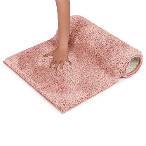 Blumtal Badezimmerteppich rutschfest - Weiche Badematte, Badvorleger, Badeteppich, 50x80 cm, Dusty Pink