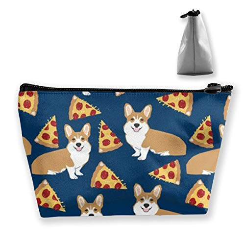 Trapezoid Makeup Pouch Storage Holder Corgi Pizza Womens Travel Case Cosmetic Makeup Pouch