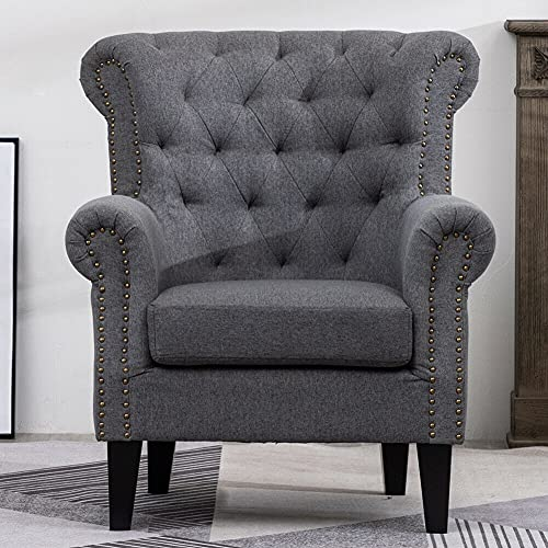 Kosoree Living Room Chairs Sofa Bed Grey Sofa Single Grey Sofa Retro Fabric Armchair Seat Chair Accent Recliner with Wood Legs