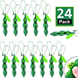 24 Pieces Fidget Bean Toy Set Edamame Soybean Keychain, Anxiety Stress Relief ADHD Toy Keychain Extrusion Pea Toys for Adults Backpack Keys Mobile Phones Gift