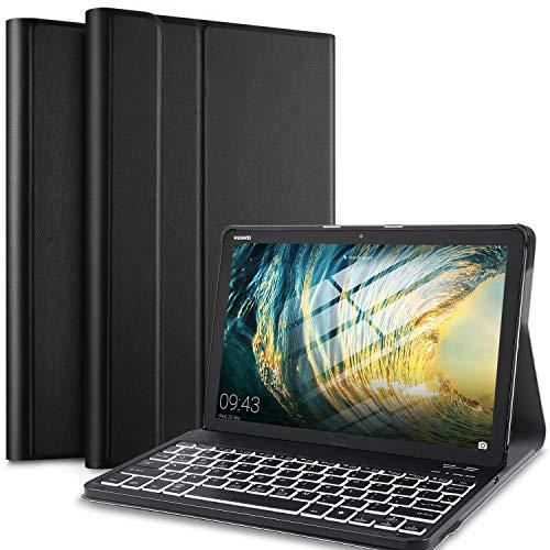 IVSO Backlit Keyboard Case voor Huawei MediaPad M5 Lite 10 (QWERTY), Slim Case met 7 kleuren Backlit Afneembaar Draadloos Toetsenbord voor Huawei MediaPad M5 Lite 10 10.1 inch 2018, Olie