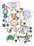 yabaduu Wandsticker Sticker 3 Din A 4 Bögen Gesamt 60x30cm Aquarell Tiere Selbstklebend für Kinderzimmer Babyzimmer Spielzimmer Mädchen Junge (Y037-3 Tiere)