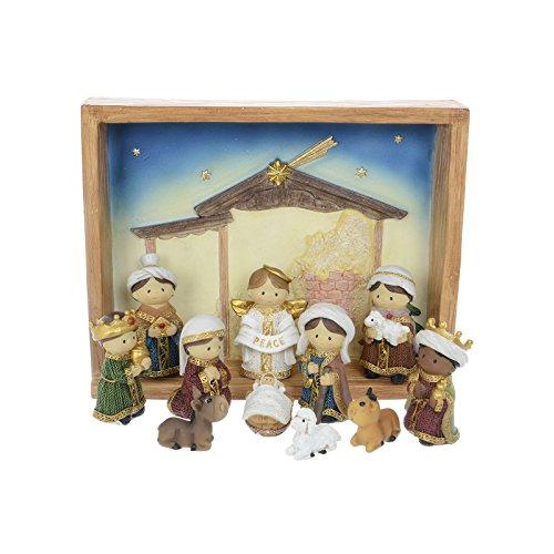 Modern Nativity Scene Set Crib Scene Christmas Xmas Decoration New Festive Crimbo Ornament Figures & Base