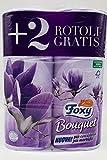FOXY Carta Igienica BOUQUET 2 veli 4+2 rotoli LILLA - CARTONE DA 6 CONFEZIONI DA 6 ROTOLI = TOTALE 36 ROTOLI PROFUMATI