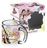 ARDITEX Soy Luna Taza-mug Estuche, Cristal, Rosa y Amarillo, 11,70 x 8 x 10 cm