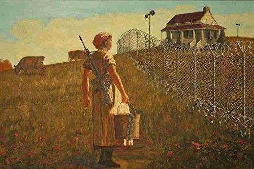 Banksy Ar15 boer prikkeldraad hek schilderij A3 doos canvas print