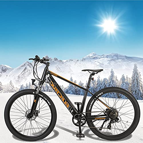 Bicicleta Eléctrica de Montaña Batería Litio 36V 10Ah Mountain Bike de 27,5 Pulgadas E-Bike Engranaje De 7 Velocidad De Shimano Hombres Mujeres con Instrumento LCD Central & Autonomía Buena
