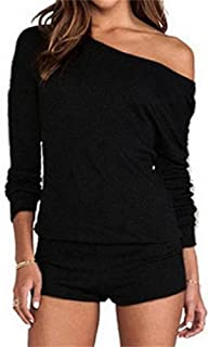 Women's Casual One Off Shoulder Long Sleeve Plain Jumpsuit One Piece Rompers