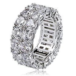 Silver Rhinestones 2Rows Round Cut 14K Silver Plated Ring