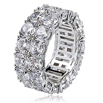 TOPGRILLZ 9mm 2Rows Round Cut 14K Silver Plated Iced out Lab Diamond Wedding Band Eternity Bands Ring for Men Women  Silver 10