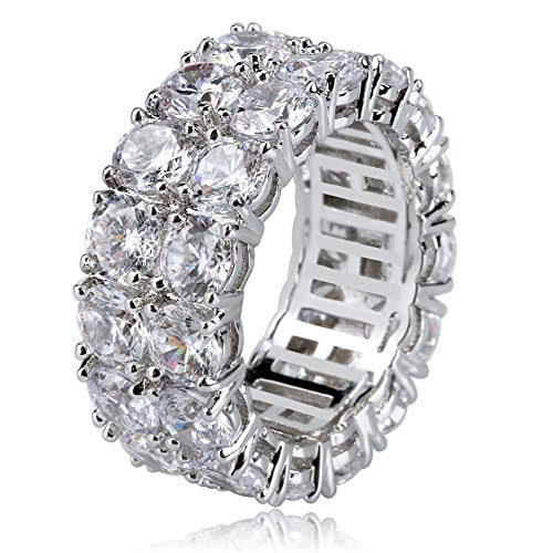 TOPGRILLZ 9mm 2Rows Round Cut 14K Silver Plated Iced out Lab Diamond Wedding Band Eternity Bands Ring for Men Women (Silver, 7)