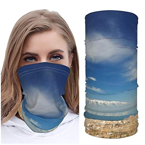 Jack16 Stones Coast Grass Sky Clouds Mountains Lake Day Ice Silk Face M_ask Face Cover Neck Gaiter Headwear Headscarf Balaclava Breathable for Running Riding