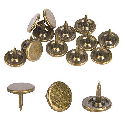 Sheens Uñas de tapicería de 100 Piezas, Clavo de tapicería de Bronce Cian de Cabeza Plana Grande Tachuelas de tapicería Antiguas Tachuelas de Metal Muebles Decorativos(9 x 8mm)