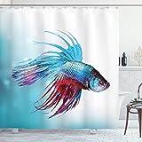 N \ A Cortina de ducha de acuario, Siamés Betta Fish Natación en Acuario Agresivo Animal de Mar Náutico, Tela de tela de baño con ganchos, 72 pulgadas de largo, Coral Sky