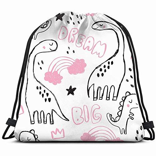Leuke Brontosaurus Doodles Grappige Cartoon Dino Dieren Wildlife Trekkoord Rugzak Zak Gym Zak Sport Beach Daypack voor Meisjes Mannen & Vrouwen Tiener Dans Tas Fietsen Wandelteam Training 14x17 Inches