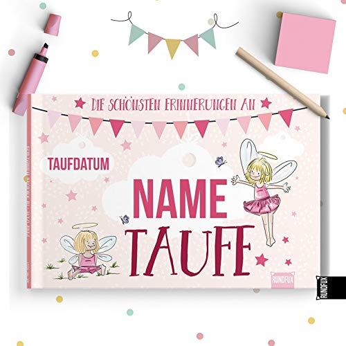 Rundfux Taufalbum mit Engel & Elfen für Mädchen (rosa) | Personalisiert mit deinem Wunschnamen und Taufdatum auf dem Cover - Jedes Buch EIN Unikat