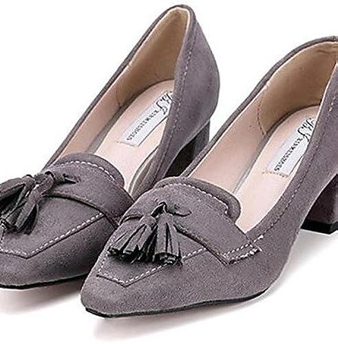 Ggx polaire pour femme Chaussures Chunky Talon talons talons extérieure décontracté Noir gris