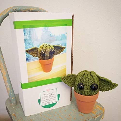 Knit KIT - DIY Baby Yoda Inspired Cactus - with pattern, knitting needles, yarn, pot, stuffing, etc! Great star wars lover knitter dorm gift