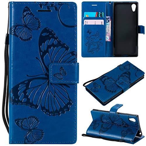 Sangrl PU-Leder Hülle Für Sony Xperia XA1, 3D Butterfly Flip Schale Brieftasche Mit Bracket-Funktion Kartenfächer Wallet Hülle Tasche Für Sony Xperia Z6 - Blau