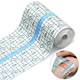 Transparent Stretch Adhesive Bandage Waterproof Bandage Clear Adhesive Bandages Dressing Tape for Tattoos (6 inch × 5.47 Yard)