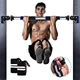 RIFFUE Chin up Bar Doorway Pull Up Bar No Screw Installation Exercise Bar with Locking Mechanism, Workout Bar with Ajustable Width for Home Gym Exercise Fitness