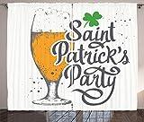 ABAKUHAUS Pub irlandés Cortinas, Fiesta de San Patricio, Sala de Estar Dormitorio Cortinas Ventana Set de Dos Paños, 280 x 260 cm, Marigold Verde