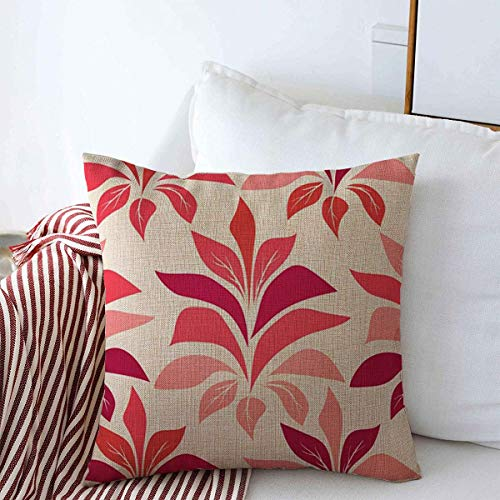 Throw Pillow Case Nature Green Blossom Vintage Patttern Red Poinsettia Star Abstract Branch Celebration Christmas Farmhouse Decor Cushion Pillows Covers 16'x16' for Home Decoration