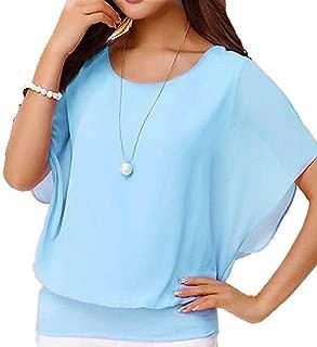 Women's Loose Casual Short Sleeve Chiffon Top T-Shirt Blouse