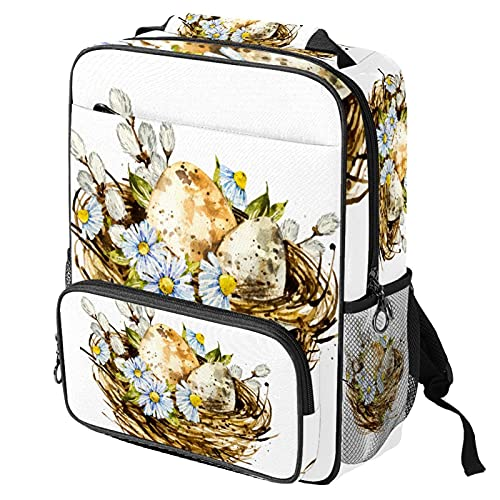 Mochila casual para computadora portátil, bolsa de trabajo de moda con impresión de cesta de Pascua de acuarela para mujeres/niñas/hombres