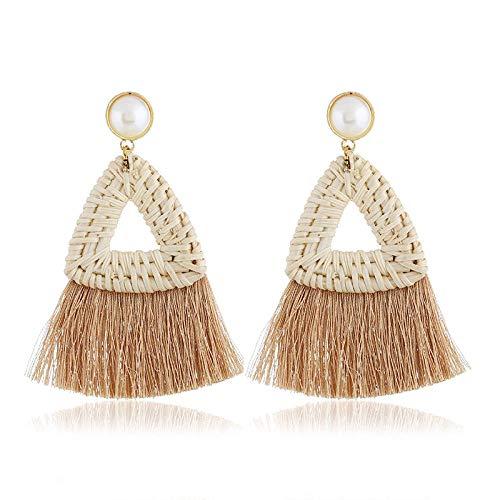 Trend Fashion Ohrringe Frauen Retro Metall Ohrringe,Anh?nger Ohrringe,Dreieck Rattan gewebt Quaste Ohrringe Ohrringe @ Kaffee