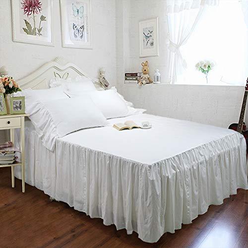 TEALP Farmhouse Bettwäsche-Set, weiß, Spannbetttuch, Tagesdecke und 2 Kissenbezüge, King Size, Shabby Style
