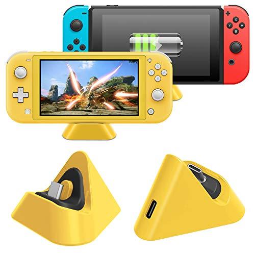 MENEEA Dock di Ricarica per Nintendo Switch Lite e Nintendo Switch, Stazione di Ricarica Compatta con Porta di Tipo C Compatibile (Giallo)
