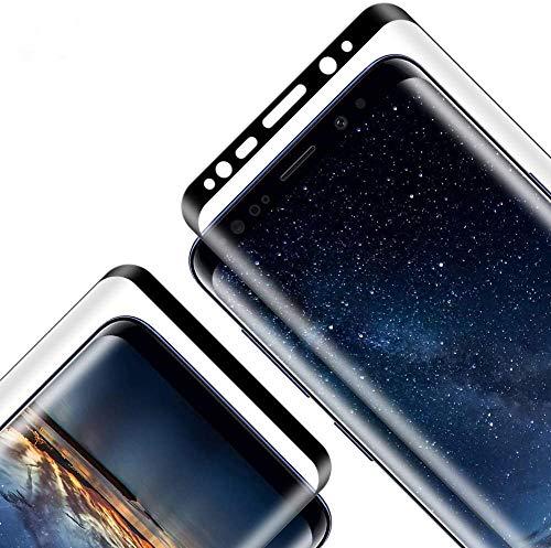 Protector de Pantalla para Galaxy S9 Plus, 9H Durzea, Cobertura Completa, 3D Curvo, Transparente, Anti-rasguños Cristal Vidrio Templado para Galaxy S9 Plus, 2 Unidades
