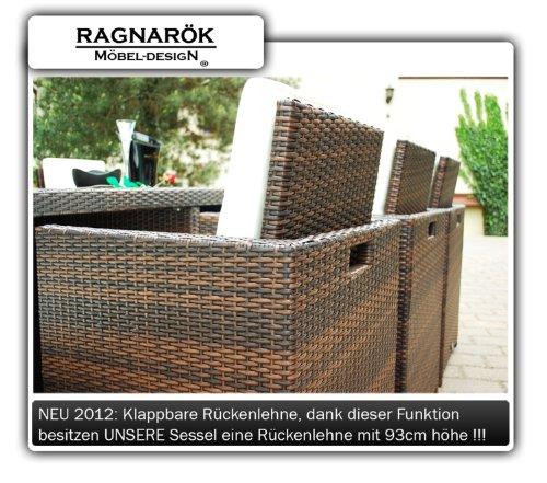 Ragnarök-Möbeldesign DEUTSCHE Marke - EIGNENE Produktion - 8 Jahre GARANTIE Garten Möbel Glas Polster PolyRattan Set Gartenmöbel Tisch Stuhl Hocker BRAUN - 7