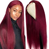 UNice Hair 10a 99J Burgundy Human Hair Wigs Middle Part Brazilian Remy Hair Fake Scalp T part Human Hair Wig Red Pre Plucked with Baby Hair 99J Color 18 inch