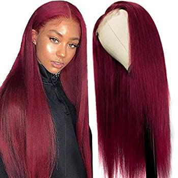 UNice Hair 10a Straight 99J Burgundy T Part Lace Closure Human Hair Wigs Middle Part Brazilian Remy Hair Silk Base Fake Scalp Red Real Human Hair Wig Pre Plucked with Baby Hair 99J Color 14inch