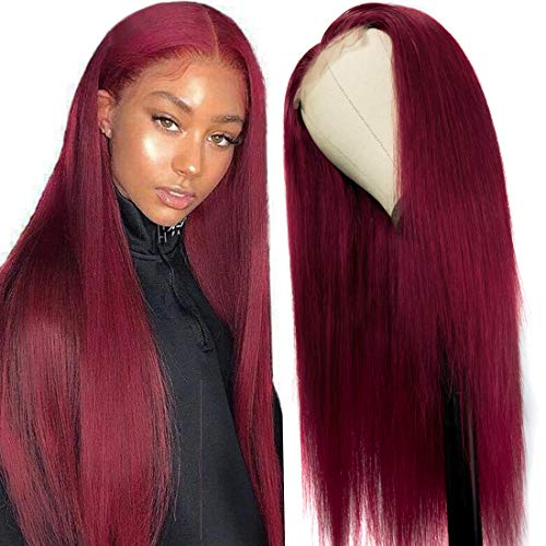 UNice Hair 10a Straight Burgundy T Part Lace Closure Human Hair Wigs Middle Part Brazilian Remy Hair Silk Base Fake Scalp Red Real Human Hair Wig Pre Plucked with Baby Hair 99J Color 24inch
