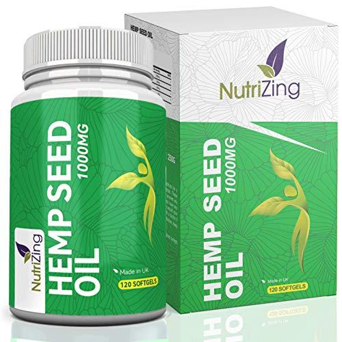 Suplemento de Aceite de Cáñamo por NutriZing. Fácil de Tragar, Contiene Omega 3 y Omega 6. 1000 mg de Alta Potencia y Prensado en Frío de las Semillas para Mejores Resultados