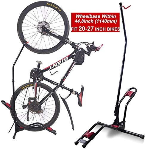 RZiioo Oberer vertikaler Fahrradständer-Bodenständer, Fahrradaufbewahrungshalterung für Innenräume, passend für Fast alle Standard-Fahrräder und bietet 4 Fuß Bodenfläche (FIT 20-27-Zoll-Fahrräder)