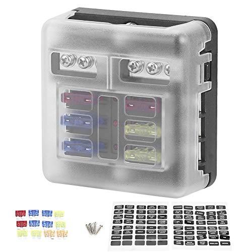 Auto Sicherungshalter, ABS + Metall Material Way Blade Sicherungshalter Box 12-36V mit LED Anzeige mit negativem Einsatz Universal Car