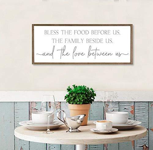 Onbekende eetkamer teken zegenen het voedsel voor ons tekenen eetkamer muur decor keuken muur decor boerderij muur decor keuken hout borden