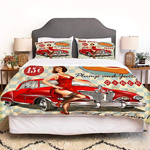 LENYOVO Duvet Cover Set-Bedding,Diner Hot Dog Vintage Pin Up Girl And Retro Car 1950S Cozy,Quilt Cover Bedlinen-Microfibre 140x200cm with 2 Pillowcase 50x80cm