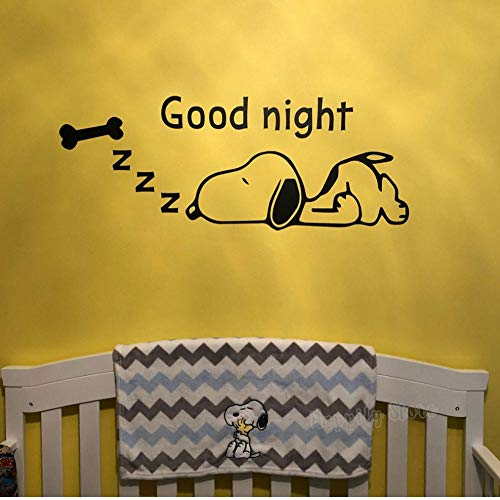 Muursticker Goodnight Skeleton - applicatie muur vinyl sticker kinderkamer nacht pinda's kinderkamer kunst baby shower cadeau 72 x 28 cm