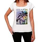 Boca Chica, Nombre de la Playa, Palma, La Camiseta de Las Mujeres, Manga Corta, Cuello Redondo, Blanco