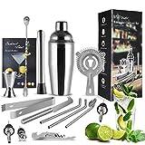 MVPower Cocktail Shaker Set,15-teiliges Cocktail Bar Set Bar Zubehör,750 ML Cocktail Mixer Edelstahl Geschenkset mit Rezepte